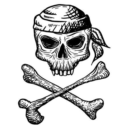 Hand drawn skull of a dead man in a bandana, with crossbones, on a white background. Vector illustration