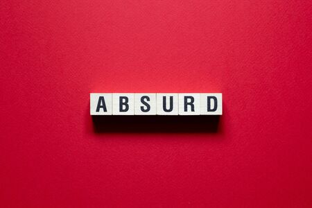 Absur word concept on cubes. 스톡 콘텐츠