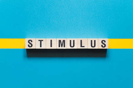 Stimulus word concept on cubes.
