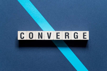 Converge word concept on cubes.