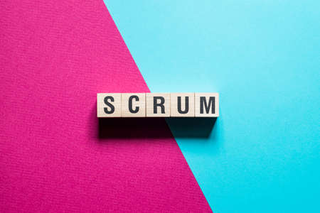 Scrum word concept on cubes.