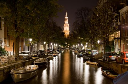 Night walking and sightseeing along Amsterdam streets photo