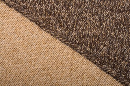 Knitted textile from two light and dark brown patterns Backgrounds Abstract photo