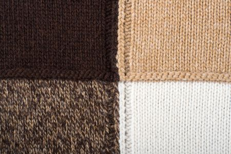 stitchcraft: Knitted textile from four beige, white, brown and speckled brown patterns Backgrounds Abstract