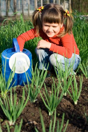 Little girl with watering can is sitting on the vegetable garden near onion patch Stock Photo