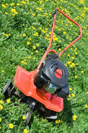 Hand tractor plough from front side on the flowering dandelion field Vertical photo