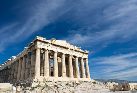 Facade of ancient temple Parthenon in Acropolis Athens Greece on the blue sky background photo