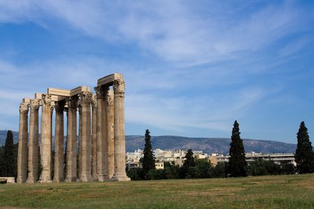 Columns of Ancient Temple of Olympian Zeus in Athens Greece on blue sky background photo
