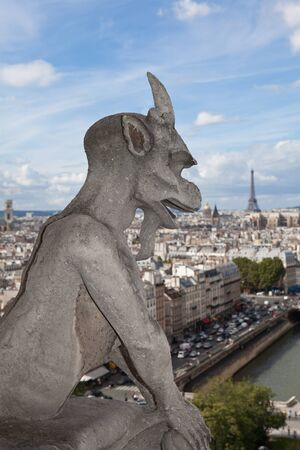 Gothic gargoyle Statue on cloudy sky background and top view from cathedral Notre Dame on streets, center, downtown, tower Eiffel in city Paris France in summer photo