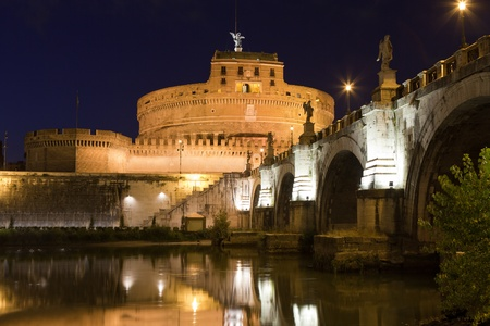pontiff: Tiber bank, arch stone bridge and reflection, museum, ancient Adrian mausoleum and medieval castle Saint Angel with statue archangel Michael  in Rome Italy at twilight