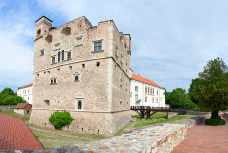 Medieval aged stone royal castle and fortress by noble family Rakoczi in Sarospatak, Borsod-Abauj-Zemplen Country, Hungary on the blue sky background Editorial