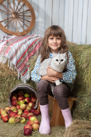 Portrait of friendly little blond girl villager sitting with white cat on hands near stacks of hay, pail of apples in wooden hayloft Stock Photo
