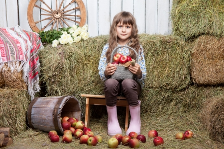 Portrait of friendly little blond girl villager sitting on stool with basket of apples in hands near inverted pail in wooden hayloft during harvest time