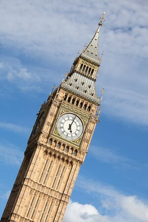 Britain national symbol Clock Big Ben  Elizabeth tower in Gothic Revival style  at 5 oclock on cloudy sky background in London Stock Photo - 16427409