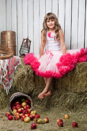 hayloft: Portrait of barefooted funny little blond girl villager dressed luxuriant wavy ball dress with frill sitting on haystack near inverted pail with apples in wooden vintage hayloft