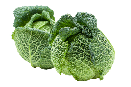 two heads: Two heads of fresh ripe Savoy cabbage isolated Stock Photo