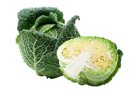 savoy cabbage: Head of fresh ripe Savoy cabbage and half cut isolated
