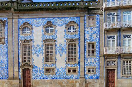 Detail of the facade of the church. Igreja do Carmo. Azulejo Stock Photo