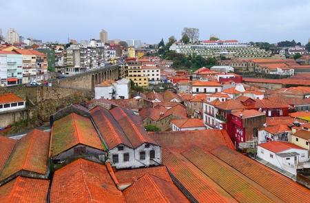 Roofs wine cellars. Autumn rainy day in Vila Nova de Gaia