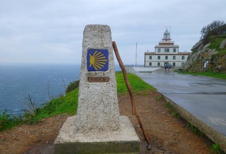 0 km en route vers Santiago, face de Finisterre, La Corogne, Espagne