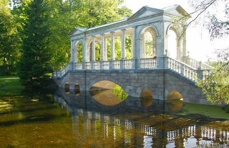 Siberian bridge in the Catherine Park in Tsarskoye Selo Stock Photo