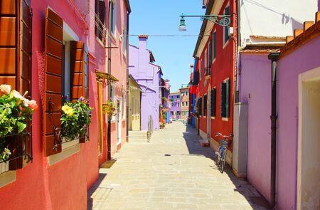 The bright colors of Burano island in Venice