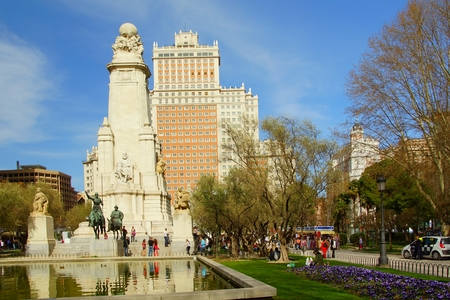 stele: Spring Day at the Plaza of Spain in Madrid