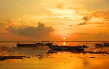 Dawn on the ocean. Morning on the island of Bali