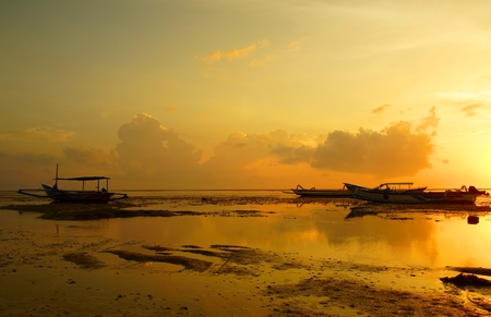 Southern morning on the island of Bali. Dawn on the ocean Stock Photo
