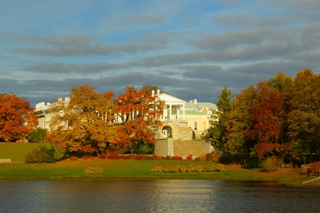 Autumn morning in the Catherine park in Tsarskoye Selo