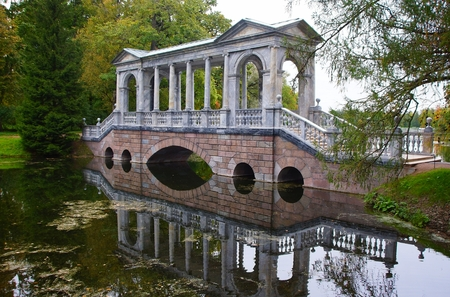 Siberian bridge in the Catherine Park in Tsarskoye Selo Editorial