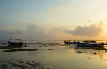 Morning on the island of Bali. Dawn on the ocean