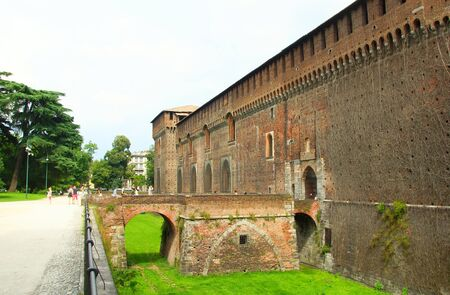 sforza: Sforza castle in Milan, landmark of Italy