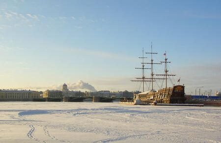 malaya: Winter day and Exchange bridge in St. Petersburg
