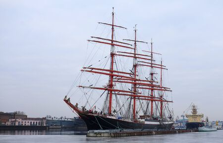The sailing ship Sedov on the quay of Lieutenant Schmidt in St. Petersburg