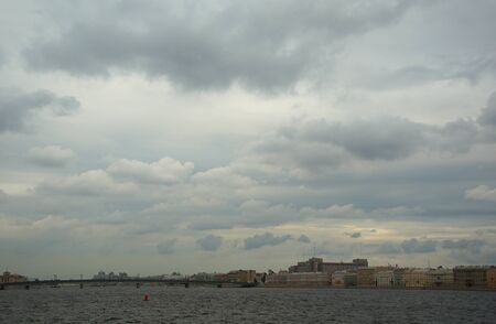 neva: Gloomy sky over the Neva river in St. Petersburg