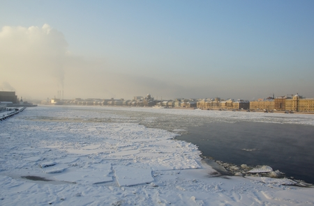 Frosty winter day in Saint Petersburg, view from the Blagoveshchensky bridge Stock Photo
