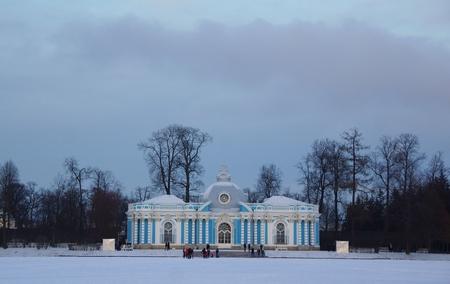 Winter day in Catherine Park in Tsarskoye Selo, the Grotto