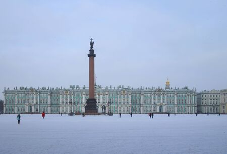 Snow and winter morning at the Palace Square in St. Petersburg