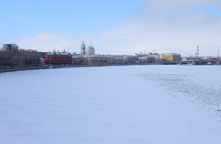 Winter day on the waterfront Makarova in St. Petersburg