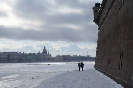 Winter day and walk to the Peter and Paul Fortress in St. Petersburg
