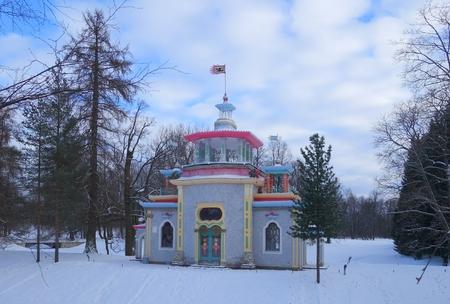 by catherine: Winter day and creaky pavilion in Catherine park in Tsarskoye Selo