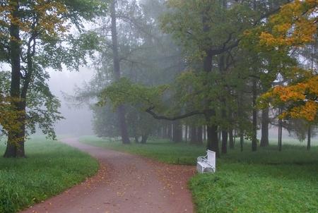 pushkin: Misty autumn morning in Catherine Park in Tsarskoe Selo Stock Photo