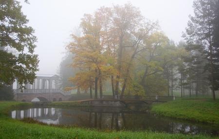 Misty autumn morning in Catherine Park in Tsarskoe Selo Stock Photo