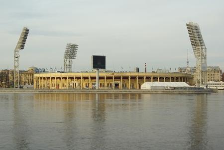 Petrovsky stadium and Malaya Neva in Saint-Petersburg