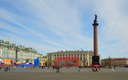 Palace square in St. Petersburg before the Day of Victory