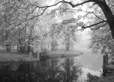 pushkin: Autumn foggy morning by the pond in the old park
