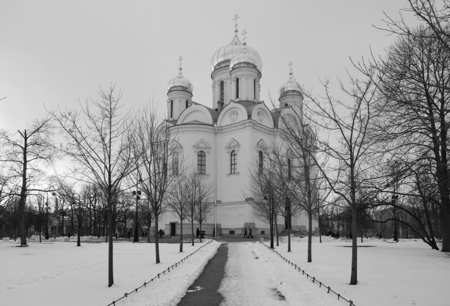 pushkin: April evening and the Catherine Cathedral in Tsarskoye Selo Stock Photo