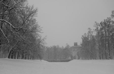 pushkin: Walk in the snowstorm, January day in Catherine Park in Tsarskoye Selo