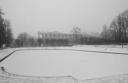 pushkin: Thaw, fog, Mirror Pond and Cameron Gallery in Catherine park in Tsarskoye Selo